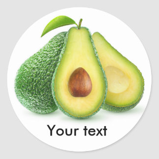 Cut avocado fruits classic round sticker