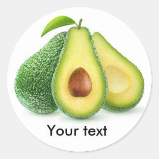 Cut avocado fruits classic round sticker