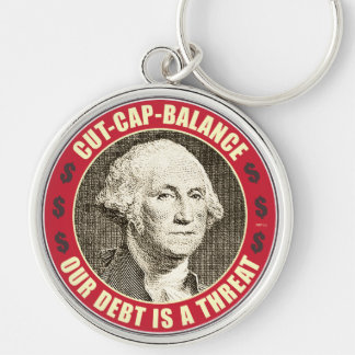 Cut Cap Balance Silver-Colored Round Keychain
