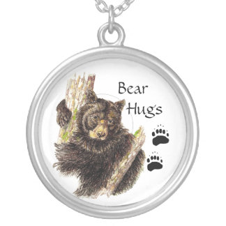Cut, Custom Black Bear Bear Hugs, Silver Plated Necklace