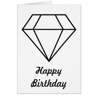 Cut Diamond Line Art Modern Gemstone Card