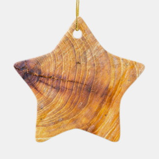 Cut down a tree with annual rings ceramic ornament