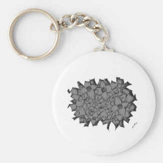 Cut Flowers Black and White Basic Round Button Keychain