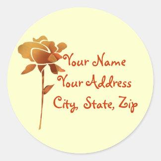 Cut golden rose, name, address label stickers