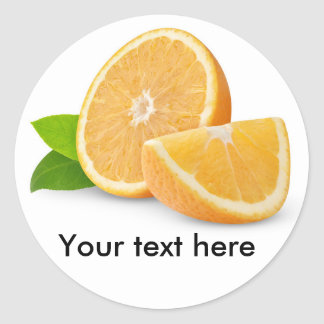 Cut orange fruits classic round sticker