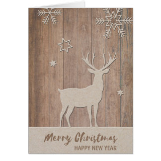 Cut out Deer/Snowflakes Christmas Note Card