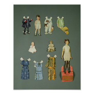 Cut out doll and clothes, late 1920s-early 1930s poster