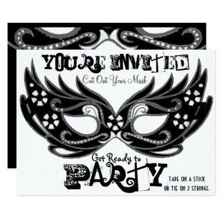 """Cut Out Mask"" Masquerade Party Invitations"