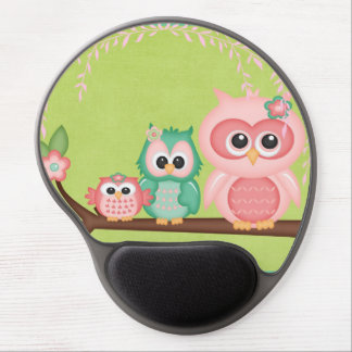 Cut Owls Branch Pink Mint Green Birds Gel Mouse Pad
