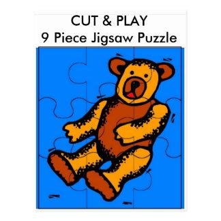 CUT & PLAY 9 Piece Jigsaw Puzzle - Bear Postcard