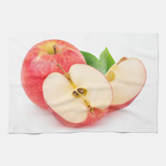 Cut red apples kitchen towels