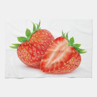 Cut strawberries kitchen towel