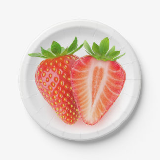 Cut strawberry paper plate