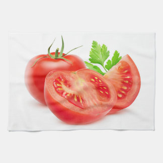 Cut tomatoes kitchen towel