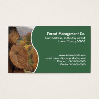 Cut tree trunks business card
