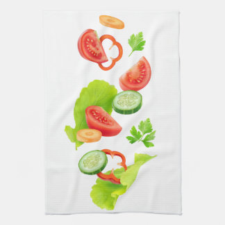 Cut vegetables kitchen towel