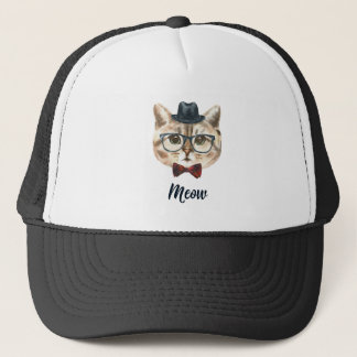 Cut Vintage Hipster Cat Kitten Saying Meow Trucker Hat