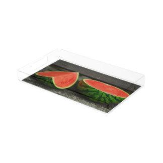 Cut Watermelon on Rustic Wood Background Acrylic Tray