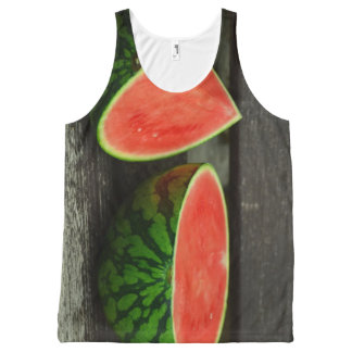 Cut Watermelon on Rustic Wood Background All-Over-Print Tank Top