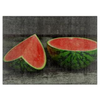 Cut Watermelon on Rustic Wood Background Boards