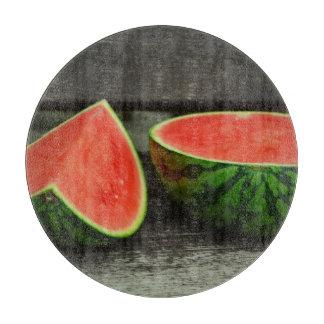 Cut Watermelon on Rustic Wood Background Cutting Board