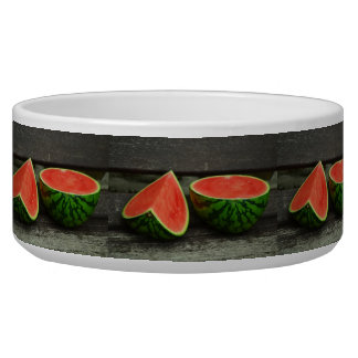 Cut Watermelon on Rustic Wood Background Dog Food Bowls