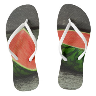 Cut Watermelon on Rustic Wood Background Flip Flops