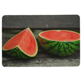 Cut Watermelon on Rustic Wood Background Floor Mat