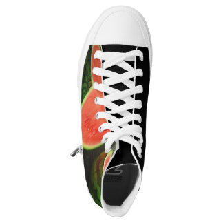 Cut Watermelon on Rustic Wood Background High Tops
