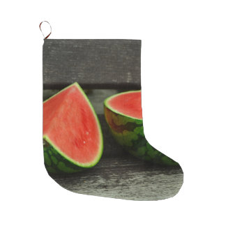 Cut Watermelon on Rustic Wood Background Large Christmas Stocking