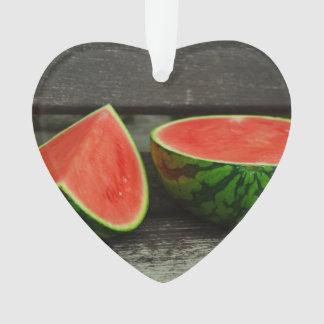 Cut Watermelon on Rustic Wood Background Ornament
