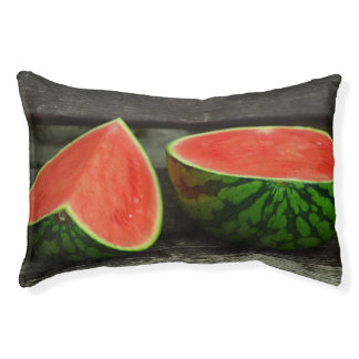 Cut Watermelon on Rustic Wood Background Pet Bed