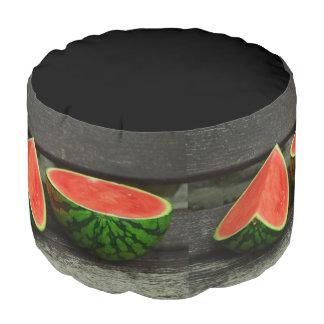 Cut Watermelon on Rustic Wood Background Pouf