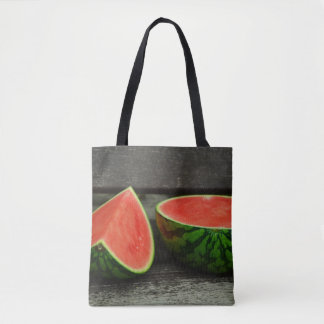 Cut Watermelon on Rustic Wood Background Tote Bag