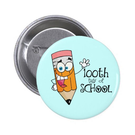Cute 100th Day Of School Cartoon Gift Buttons