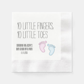 Cute 10 Little Toes Gender Reveal Napkins Disposable Napkins