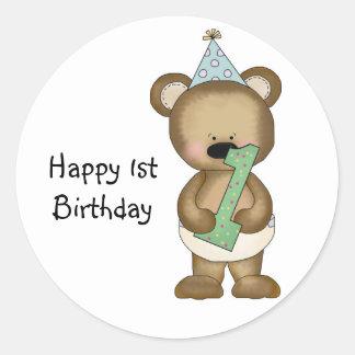 Cute 1st Birthday Bear - Boy Classic Round Sticker