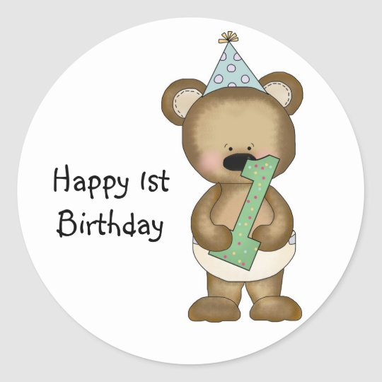 Cute 1st birthday bear boy classic round sticker