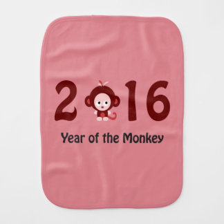Cute 2016 year of the monkey burp cloth