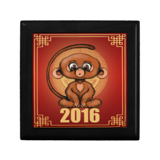 Cute 2016 Year of the Monkey Keepsake Box