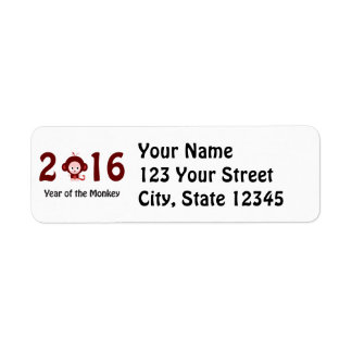 Cute 2016 year of the monkey return address label