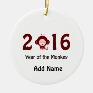 Cute 2016 year of the monkey round ceramic ornament