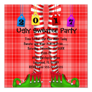 Cute 2017 Elf Stocking Ugly Sweater Party Invite