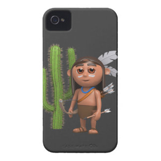 Cute 3d American Indian with Cactus (editable) iPhone 4 Case