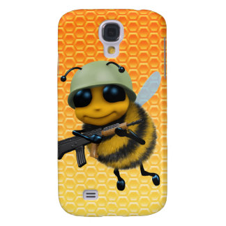 Cute 3d Bee Soldier Honeycomb background