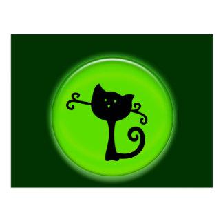 Cute 3D Black Cartoon Cat Postcard