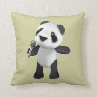 Cute 3d Panda Singing with microphone (editable) Throw Pillow