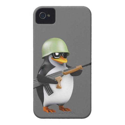 Cute 3d Penguin Soldier (editable) Case-Mate iPhone 4 Case