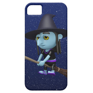 Cute 3d Witch Flying Broomstick (editable) iPhone 5 Cases