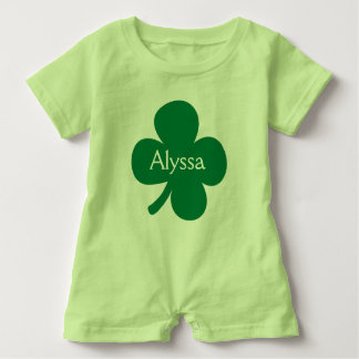 Cute 4 Leaf Clover Personalized St Patricks Day Baby Romper